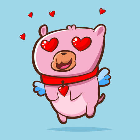 Pink sweet love teddy bear with angel wings and hearts around it. Vector cartoon character. Illustration for Valentine's Day. Vettoriali