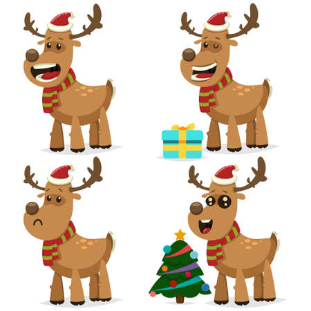 Funny Christmas reindeer in Santa Claus cap with gift box and festive decorated tree. Vector cartoon character set of cute deer for holiday design isolated on white background.