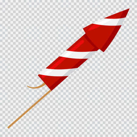 Firework rocket cartoon icon isolated on transparent background.