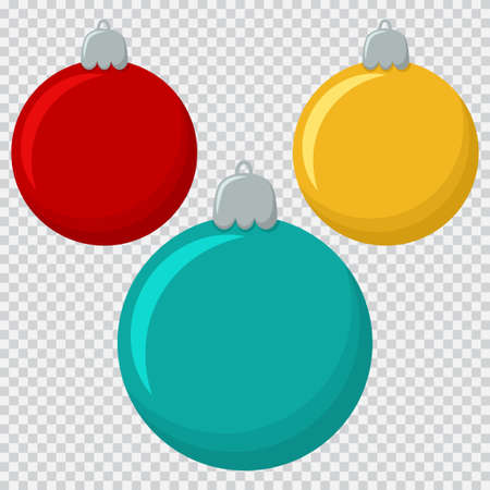 Glass colorful Christmas balls. Holiday elements for design. Vector flat icons isolated on a transparent background. Illustration