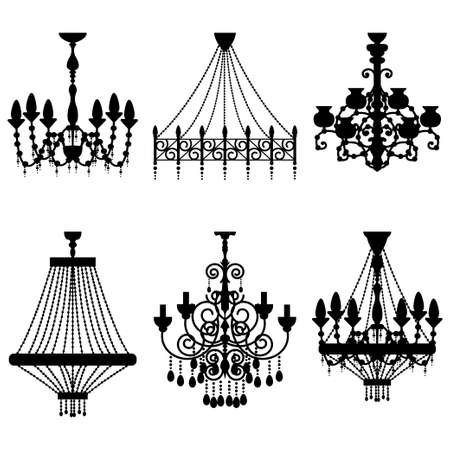 Crystal chandelier silhouettes set. Vector vintage classic luster isolated on white background. Illustration