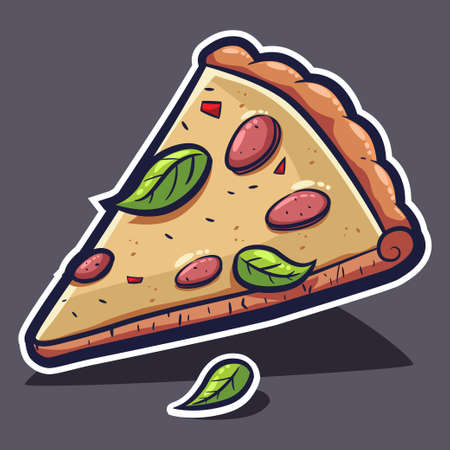 Pizza slice with cheese and basil. Vector cartoon illustration isolated on background.
