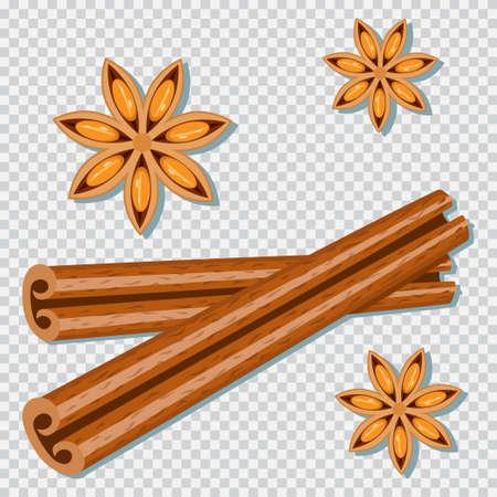 Cinnamon sticks and anise star vector cartoon spice set isolated on a transparent background.