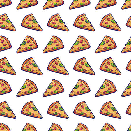 Pizza slice vector seamless pattern on a white background. Illustration for paper, wallpaper, wrapping, package, web and backdrop.