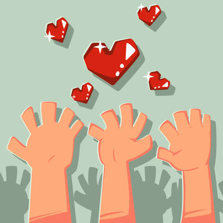 Raised hands up the volunteers catch the heart. Vector cartoon concept illustration.