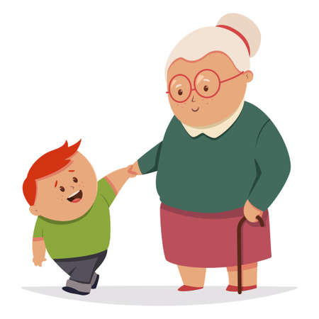 Little boy helps the grandmother. Vector cartoon characters of old woman and kid isolated on white background. Illusztráció