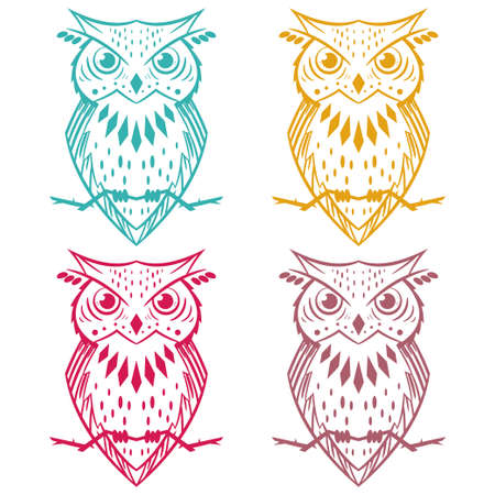 Owl line vector icon of different colors isolated on white background. Illustration
