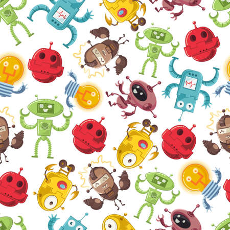 Cartoon robot vector seamless pattern on a white background for wallpaper, wrapping, packing, and backdrop. Illustration