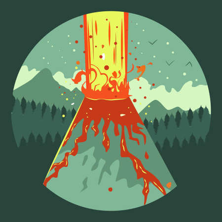 Volcano eruption vector flat icon.