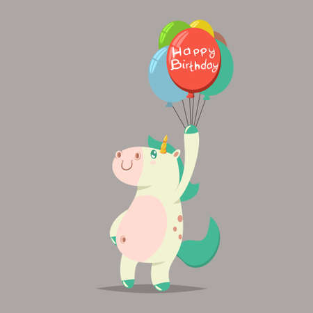 Happy birthday greeting card. Vector cartoon illustration of a funny magic unicorn with a colorful balloon.
