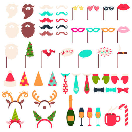 Christmas photo booth props vector cartoon set: hat and beard of Santa Claus, reindeer antlers, elf, mustache, champagne bottle, eyeglasses, cigar and red coffe cup isolated on a white background.