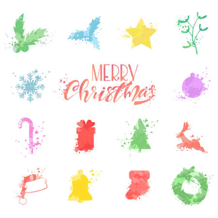 Watercolor Christmas symbols of Santa Claus hat, reindeer, snowflakes, balls, tree, wreath, mistletoe, gift box, stocking, star and bell. Vector icons set isolated on white background. Illustration