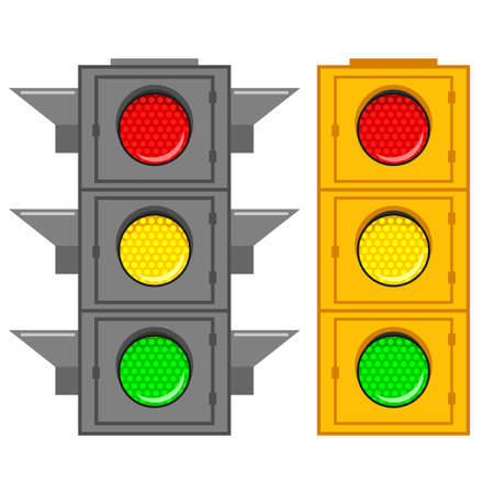 Road traffic light with green, red and yellow signal. Vector cartoon flat icons set of street stoplight isolated on white background. Illustration