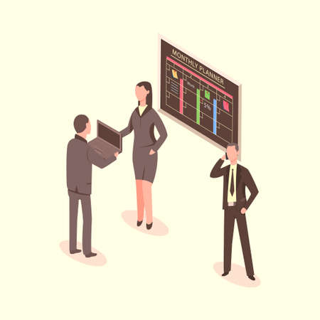 Teamwork of business men and woman with laptop and smartphone near planning board. Vector 3d flat isometric illustration of office people working on a project.