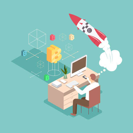 Startup vector 3d flat isometric business concept illustration. Man creates a new project at his workplace with a computer, a rocket and a cryptocurrency.
