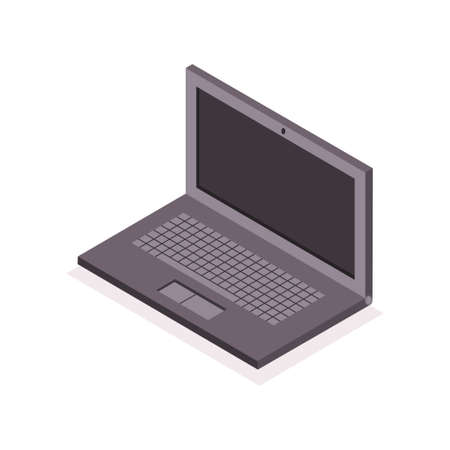 Isometric laptop icon. Vector 3d flat illustration of a notebook isolated on white background.