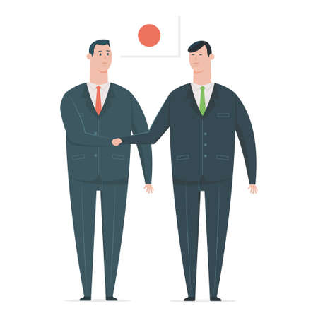 Japanese businessman handshake with a business partner. Vector cartoon character of office workers from different countries isolated on white background. Illustration