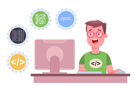 Programmer is working on the software. Vector cartoon flat illustration of a freelance web developer with computer isolated on a white background. Illustration