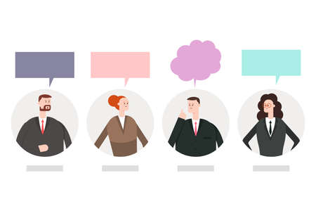 Women and men with a speech bubble. Vector cartoon flat illustration of business people conversation isolated on a white background.