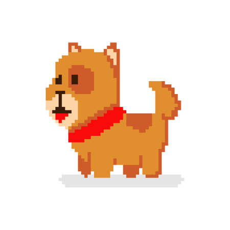 Pixel art dog. Vector 8 bit game animal character isolated on white background.