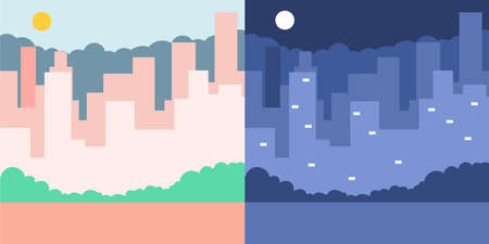 City skyline in day and night. Vector flat illustration of a cityscape with sun and moon.