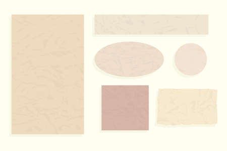 Old vintage crumpled paper. Vector set of an album of torn and different forms of pages isolated on white background.