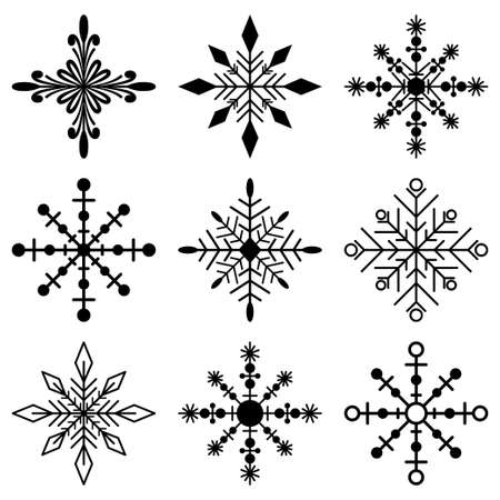 Snowflakes black silhouette vector simple icons set isolated on white background. Illustration