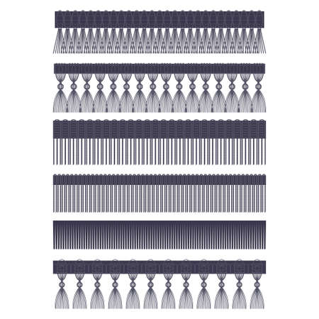 Fringe edge with brush and tassel trim vector flat set of seamless borders isolated on a white background.