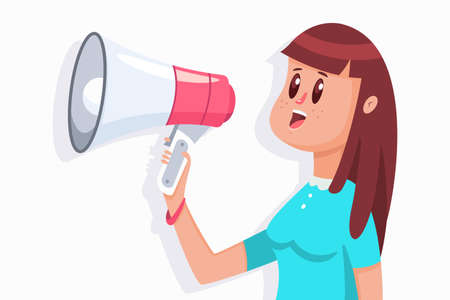 Cute girl with a megaphone. Vector cartoon flat woman character with loudspeaker illustration isolated on a white background.
