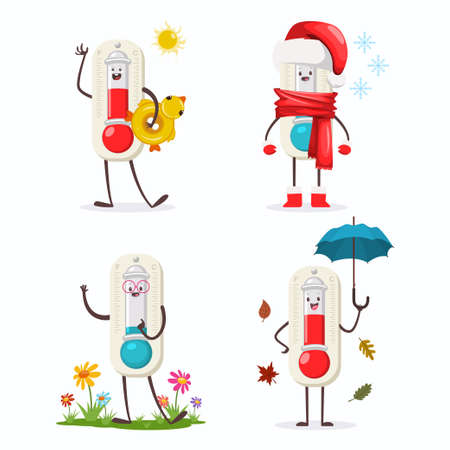 Cute Thermometer cartoon character of four seasons: winter, spring, autumn and summer. Vector flat icons set isolated on white background.