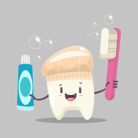 Happy tooth character with a toothbrush, toothpaste, shower cap and soap bubbles. Vector cartoon funny dental illustration.