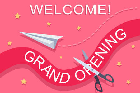Grand opening invitation template with a red ribbon, scissors, paper airplane and golden stars. Vector banner design.