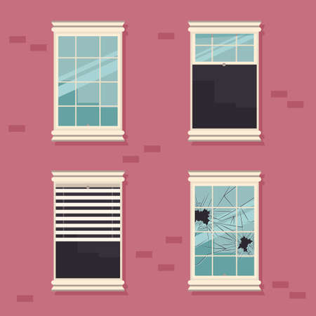 Windows broken, open, closed and with blinds on a brick wall vector cartoon flat illustration.