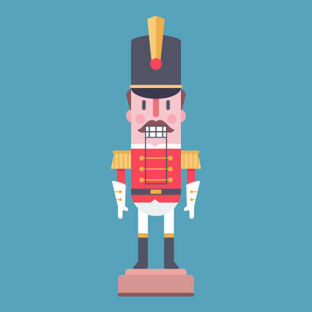 Nutcracker vector cartoon character toy soldier isolated on blue background.