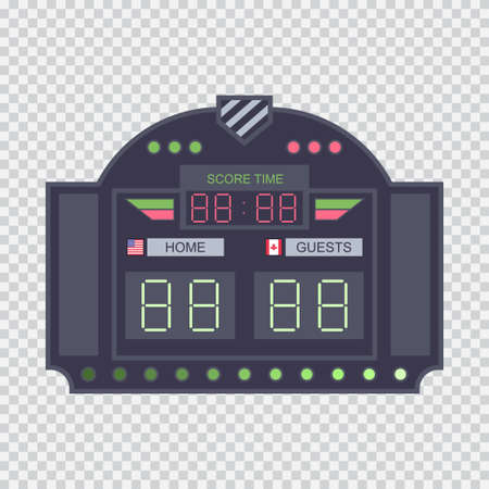 Digital stadium scoreboard with clock vector flat illustration isolated on a transparent background. Illustration