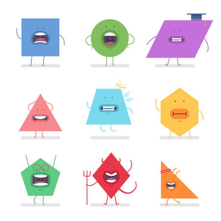 Funny geometric shapes with different emotions. Vector cartoon flat character set isolated on white background. Illustration