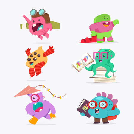Cute cartoon baby monster set. Vector funny creature flat character isolated on a white background. Ilustrace