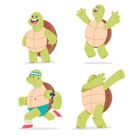 Cute Turtle cartoon character set. Vector illustration of funny mascot animal isolated on a white background background.