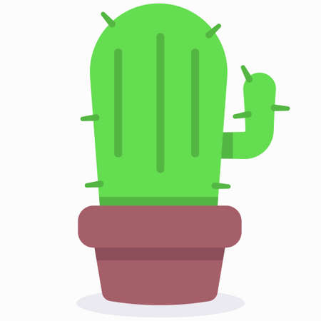 Cactus in pot vector flat simple icon isolated on white background.