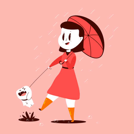 Girl and dog with an umbrella under the rain vector cartoon illustration isolated on background. Illustration
