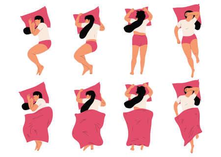 Woman sleeping in bed in different positions vector cartoon characters top view set isolated on a white background. Illustration