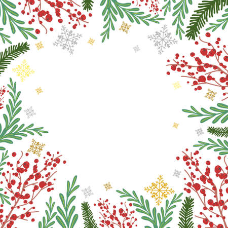 Winter frame with rowan, fir tree branches and snowflakes vector cartoon background. Illustration