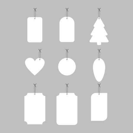 Hanging white paper tag, label different shapes vector set isolated on gray background.