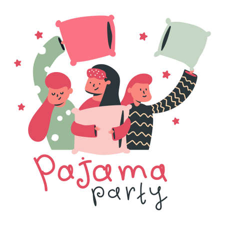 Pajama party vector cartoon concept illustration with cute girls and pillow isolated on a white background.