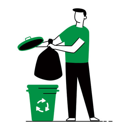 Waste sorting vector concept illustration of a man, trash bags and garbage can isolated on a white background.