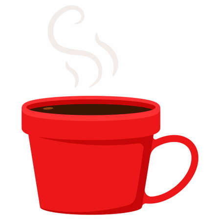 Red cup of hot coffee vector cartoon flat illustration isolated on a white background.
