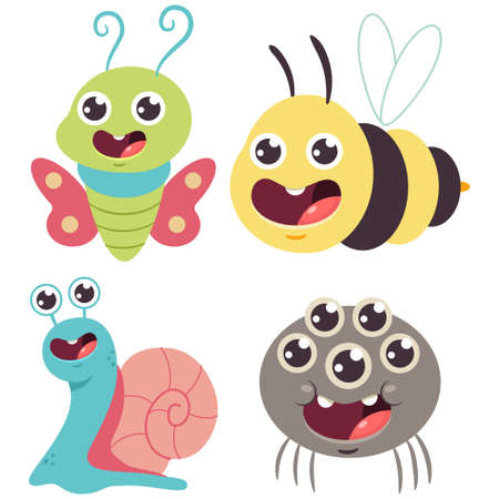 Cute bug vector cartoon set. Funny bumblebee, snail, butterfly and spider isolated on a white background.