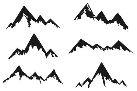 Mountains black silhouette vector icons set isolated on a white background. Ilustrace