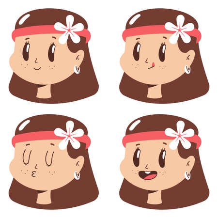 Cute hippie girl face with expressions vector cartoon set isolated on a white background.