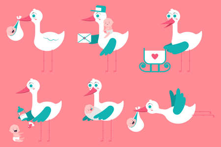 Cute cartoon stork with newborn baby vector set isolated on background.